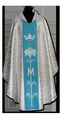 New SILVER - BLUE CHASUBLE & STOLE, Priest Vestments Catholic #385