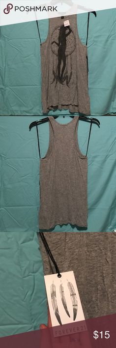 Adorable Dressy Tank! New with Tags! Gray racerback tank with black dream catcher and woman design. Awesome for a night out or just a casual day at home. Forever 21 Tops