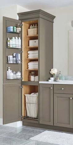 35 Good Small Bathroom Storage Organization Ideas Finding the right Small Bathroom Remodel ideas is tricky since the bathroom remodel can be challenging. Bathroom Vanity Decor, Small Bathroom Storage, Bathroom Renos, Bathroom Ideas, Bathroom Lighting, Vanity Lighting, Diy Bathroom Cabinets, Small Storage, Linen Cabinet In Bathroom