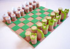 Cork and Felt chess game - by Do Not Push My Buttons!
