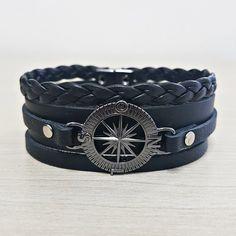 Bracelete Masculino Couro Trançado Bussola Rosa Dos Ventos mens bracelets fashion style cocar brasil