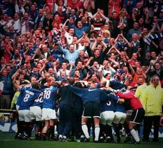 Rangers players celebrate lifting the title at Celtic Park with a mock 'Huddle' in May Pic: Daily Record Rangers Football, Rangers Fc, Bear Face, A Perfect Day, Great Team, Chelsea Fc, My People, Glasgow, Hero