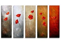 Wieco Art - Modern 100% Hand Painted Canvas painting Art Work for Wall Decor Home Decoration, Stretched and Framed Painting Artwork, Red Petals Flowers- 5 Panels Abstract Floral Oil Paintings on Canvas Wall Art Ready to Hang for Wall Decorations Home Decor