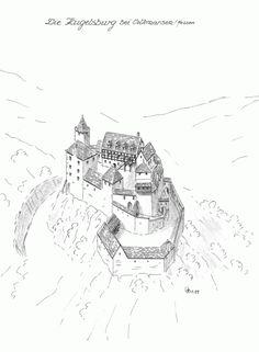 Burg Kugelsburg Fantasy Town, Fantasy Map, Castle Illustration, Castle Drawing, Building Map, Sword And Sorcery, Spur, Natural Building, Fortification