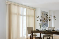 Sheer Vertical Blind: Cascade, Champagne 2080; Double Round Corner Valance. Graber Blinds