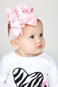 Little Sister Hair Bow, Pink and White OTT, Newborn Headband, Infant Headband, Baby Headband, Baby Shower Gifts, Baby & Toddler - pinned by pin4etsy.com
