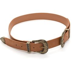 Wild Western Double Buckle Belt ($11) ❤ liked on Polyvore featuring accessories, belts, cowboy belt, distressed belt, cowgirl belts, double buckle belt and western belts