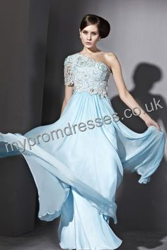 Floor Length One-shoulder Blue Chiffon A-line Evening Dress  http://www.mypromdresses.co.uk