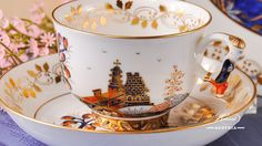 The Miramare Castle is a castle, built for Austrian Archduke Maximilian Habsburg and his wife. Painted with the harmony of rich gold and oriental blue. Maximilian I, Archduke, China Tea Sets, Tea Cup Saucer, Vintage Tea, Teacups, Cobalt Blue, Belgium, Tea Time
