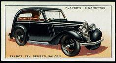 Cigarette Card - Talbot Ten Sports Saloon, 1936