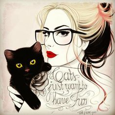 Tati Ferring, girl, tattoo, illustration, fashion, sexy, cat, black