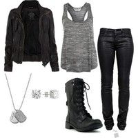 Grey singlet + black skinny jeans + black leather jacket + combat boots