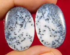 25 Cts.100% NATURAL OVAL SHAPE PAIR OF DENDRITE OPAL LOOSE CAB GEMSTONE (I405)