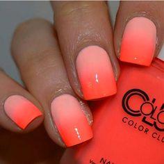 Nail Art Orange, Orange Ombre Nails, Ombre Nail Art, Bright Orange Nails, Ombre Nail Colors, Yellow Nail, Neon Yellow, Cute Nails, Pretty Nails