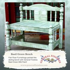 Fish River Furniture, www.facebook.com/FishRiverFurnishings, rejuvenated this bench with General Finishes Basil Green Milk Paint. #generalfinishes #milkpaint