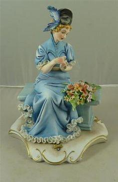 Capodimonte IPA Porcelain Flower Arranging Lady Lace Figurine Gold Scroll Base.