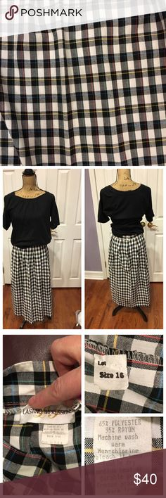 Gorgeous Preppy Vintage Plaid SKIRT like New In excellent condition, just like it has never been worn!  The colors are basically black and white gingham but there are lines of yellow, blue, and red running through. Perfectly gorgeous! Lasting Impressions Skirts Midi