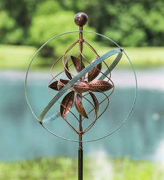 Bronze and Patina Spiral Metal Wind Spinner Wind Sculptures, Sculpture Garden, Kinetic Wind Spinners, Copper Art, Copper Color, Garden Wind Spinners, Bronze Patina, Kinetic Art, Humming Bird Feeders