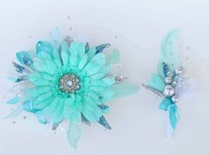 Mint Green and Teal Prom Corsage & Boutonniere.... by justanns