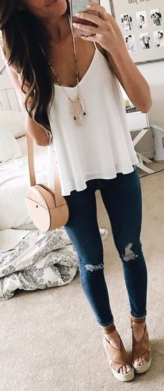 summer outfits White Tank + Ripped Skinny Jeans