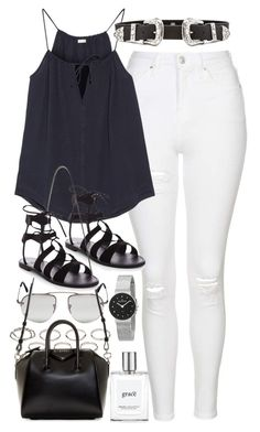 """""""Outfit with a camisole and white jeans"""" by ferned on Polyvore featuring Topshop, Akira, Skin, Prada, Givenchy, B-Low the Belt, Skagen and philosophy"""