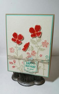 Stampin' Up! Wildflower Meadow, Label Love, Artisan Label punch -- made by Jeanie Tavitas-Williams. Handmade Birthday Cards, Greeting Cards Handmade, Wild Flower Meadow, Friendship Cards, Butterfly Flowers, Card Kit, Stamping Up, Flower Cards, Homemade Cards