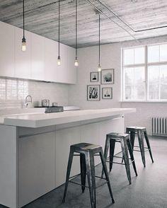 Inspirujący minimalizm połączony ze stylem industrialnym. Metal, drewno, beton to instrumenty dominujące #momastudio #createyourspace #createyourkitchen
