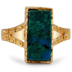 THE ATHERTON RING-  bold Victorian ring with a vivid green blue azurite malachite in a yellow gold frame.