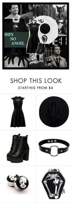 """""""She's No Angel"""" by mistressmorgue ❤ liked on Polyvore featuring Oasis and Kreepsville 666"""