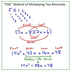 Foil Method example. | Systems of Equations | Pinterest
