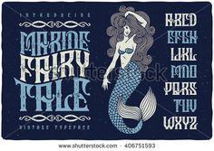 Marine fairytale font with beautiful mermaid illustration. Vintage decorative type set.
