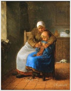 ''Knitting Lesson'', by French painter Jean Francois Millet (Oct 1814 – Jan Millet is known for his paintings of peasant farmers & is considered part of the naturalism & realism movements. He was one of the founders of the Barbizon school in rural France. Claude Monet, Vincent Van Gogh, Jean Renoir, Art Pictures, Art Images, Illustrations, Illustration Art, Barbizon School, Knit Art