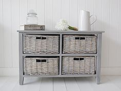 St Ives grey wooden storage furniture with four grey willow basket drawers. Grey Bedroom Furniture, Hallway Furniture, Cottage Furniture, Country Furniture, Painted Furniture, Salvaged Furniture, Furniture Ideas, Indoor Wicker Furniture, Wicker Sofa