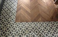 machuca and herringbone hardwood flooring Aubaine Selfridges, Oxford St Wooden Floor Tiles, Concrete Tiles, Wooden Flooring, Bar Interior, Home Interior Design, Machuca Tiles, Carpet World, Discount Area Rugs, Loft Kitchen