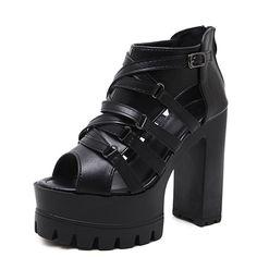 Gdgydh/Римские сандалии-гладиаторы женщина черный мода пряжки 2018 новые летние женские свадебные туфли на платформе Молния сзади удобные