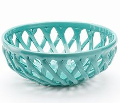 Food Network Turquoise Aqua Bread Basket. Its lovely lattice design is sure to perfectly complement any occasion or dining room decor.