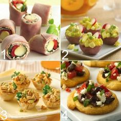 4 COLD APPETIZERS: 1~Ham & Cheese Roll-Ups; 2~Potato Salad Bites; 3~Curry Chicken Salad Cups; 4~ Tomato & Feta Crostini  {Also has a link to Appetizer: Spicy Chicken Cups}