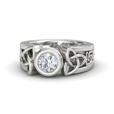 Round Diamond 14K White Gold Ring - Celtic Sun Ring | Gemvara