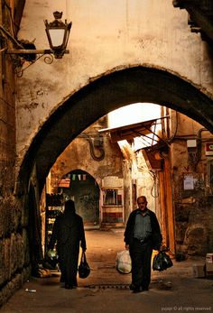 this almost doesn't seem real but it is, its the old world of Damascus, Syria - an ordinary day in the old city.