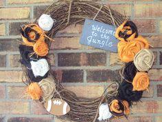 Cincinnati Bengals Welcome to the Jungle Burlap Wreath.