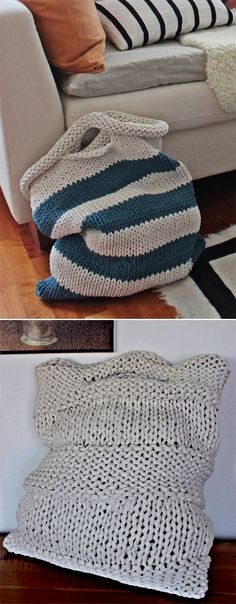 Free Knitting Pattern for Laundry Bags - Easy laundry bags in two sizes: 40 cm x 48 cm and 50 cm x 60 cm. Quick knit in super bulky yarn. Designed byPirjo M