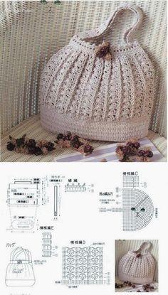 Free Crochet Bag Patterns Part 10 - Beautiful Crochet Patterns and Knitting Patterns Free Crochet Bag, Crochet Shell Stitch, Crochet Diy, Crochet Tote, Crochet Handbags, Crochet Purses, Crochet Chart, Crochet Patterns, Crochet Diagram
