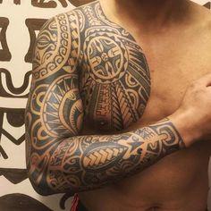 Yesterday's session,,,finished this polynesian inspired sleeve, thanks Affandi… #samoantattoossleeve #samoantattoosmale