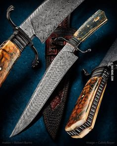 This is my job, I make knives. This is what a damascus bowie knife with fossilized mammoth ivory look like.