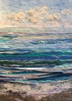 To make for my favorite daughter, Amy (because she broke into my iPad and says so) Ocean Quilt, Beach Quilt, Fiber Art Quilts, Art Quilting, Quilt Art, Landscape Art Quilts, Quilt Modernen, Thread Painting, Applique Quilts