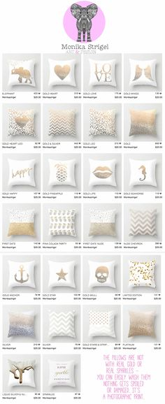 Mix & Match with these pillows in White & Gold. Each pillow comes in…