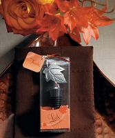 Here is a nature inspired Wine Stopper that features the beauty of a single leaf. This simple yet elegant stopper makes a thoughtful favor for special occasions planned around an autumn or outdoor theme. Includes an artfully designed gift box printed with a swish of graphic leaves, ribbon and gift tag. Your gift comes completely ready for presentation. www.CreativeWeddingStyle.com $2.61