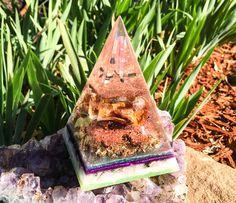 Pink Tourmaline Orgone Pyramid ~ Crystal Pyramid ~ Violet Flame Orgone Healing