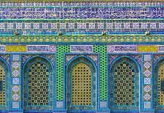 Detail of the tiled facade on the Dome of the Rock, a shrine located on the Temple Mount in the Old City of Jerusalem.