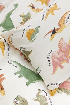 Patterned Duvet Cover Set - Natural white/dinosaurs - Home All   H&M US 4 Dinosaur Bedding, Dinosaur Room Decor, Dinosaur Bedroom, Single Duvet Cover, Duvet Cover Sets, Ikea Duvet Cover, Baby Boys, Baby Play, Lit Simple